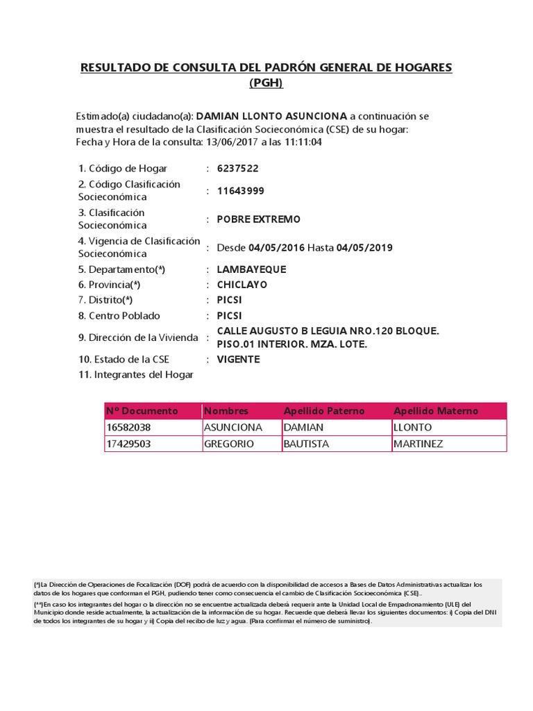 Resultado de Consulta Del Padrón General de Hogares | Business